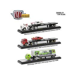 M2 Machines New 1:64 Collection - AUTO-HAULERS Wave 21 SEMI Trailer Truck Set Diecast Model Car Set of 3 Cars