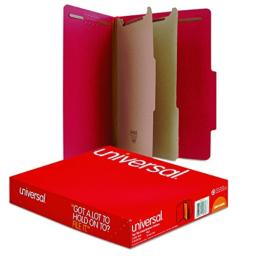 Universal - Pressboard Classification Folders, Letter, 6-Section, Ruby Red, 10/bx