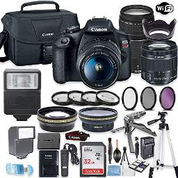 Canon Eos Rebel T7 Camera Wcanon Efs 1855Mm Is Ii Lens & 75300Mm F456 Iii Lens 32Gb Sandisk Memory Canon Case High Speed Slave Flash Accessory Bundle