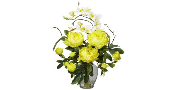 Nearly Natural 1175-YL Peony and Orchid Silk Flower Arrangement, Yellow A perfect harmony of color and design*Brighten up any room or office space*Will look great for years to come*Pot Size 5.5w x 7.5h