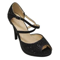 Bella Marie Shania-1 Women's Peep Toe Rhinestone Glitter Crossing Strap Dance Sandals,Black,9