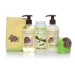 Little Twig All Natural Baby Basics Gift Set with Baby Powder, Baby Wash, Baby Lotion, Washcloth and Tub Toy Gift Set, Lavender/Unscented, 1.9 Pound