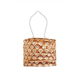 Allsop Home and Garden Soji Stella Drum LED Outdoor Solar Lantern, Handmade with Weather-Resistant Fabric for Patio or Garden, Color (Copper)