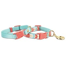 Bond & Co. 2 Pack Turquoise & Coral Collars for Small Dogs, XS/S, X-Small/Small