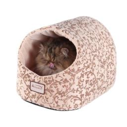 Armarkat Cat Bed with Flower Pattern, Beige