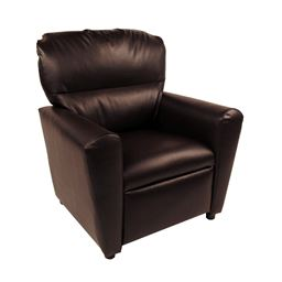 Dozydotes Contemporary  Tween Recliner in Pecan Brown Leather Like