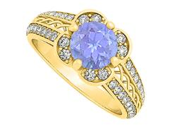 December Birthstone Tanzanite with Cubic Zirconia Criss Cross Fancy Fashion Ring 14K Yellow Gold