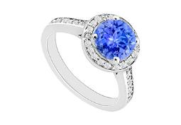 December Birthstone Created Tanzanite and CZ Halo Engagement Rings 14kt White Gold 0.80.ct.tgw