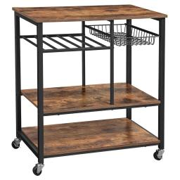 Caster Supported Wood and Metal Kitchen Cart with 3 Shelves,Brown and Black