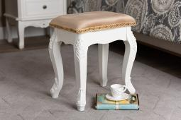 Baxton Studio Isabella Classic and Traditional French Beige Velvet Fabric Upholstered and White Finished Wood Ottoman Stool