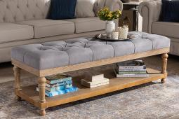 Baxton Studio Linda Modern and Rustic Grey Linen Fabric Upholstered and Greywashed Wood Storage Bench