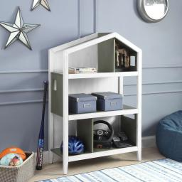 Cottage Style Wooden Kids Bookcase with Five Open Shelves, Gray and White