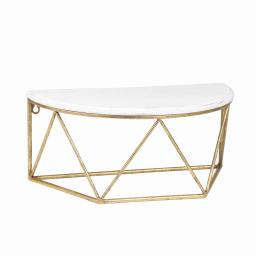 Wood and Metal Wall Shelf with Half Moon Shaped Top, White and Gold