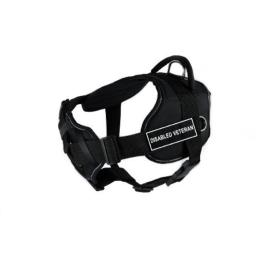 Dean & Tyler Fun Works Disabled Veteran Harness with Padded Chest Piece, Medium, Fits Girth Size: 28-Inch to 34-Inch, Black with Reflective Trim