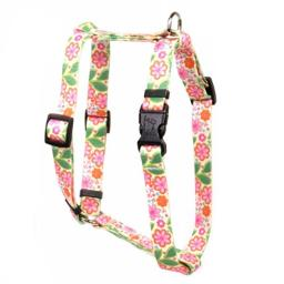 "Yellow Dog Design Flower Patch Roman Style Dog Harness Fits Chest Circumference of 8 to 14"", X-Small/3/8"