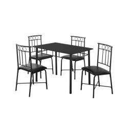 Offex OFX-409857-MO 5 Piece Dining Set - Black Metal and Top