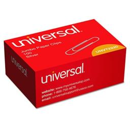 Universal Smooth Paper Clips Wire Jumbo Silver 100/Box, 10 Boxes/Pack (UNV72220)