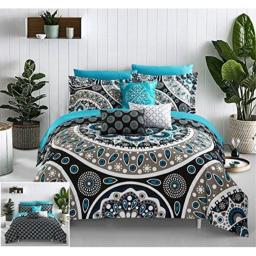 Chic Home 10 Piece Mornington Large Scale Contempo Bohemian Reversible Printed with Embroidered Details. Queen Bed in a Bag Comforter Set Black