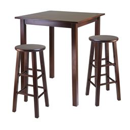"Winsome Parkland 3pc High Wooden Breafast Table with 29"" Square Leg Stools Walnut"