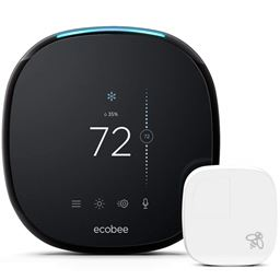 Ecobee4 Wi-Fi Thermostat with Room Sensor and Built-In Alexa Voice Service - Black