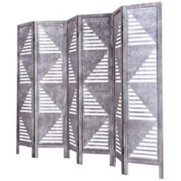 6 Panel Wood Folding Freestanding Hollow-out Designed Room Divider