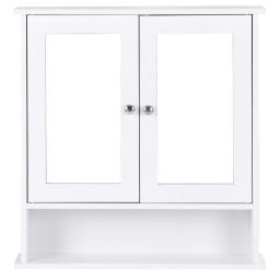 Bathroom Wall Cabinet with Double Mirror Doors