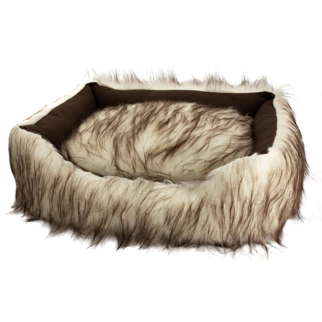 Duke and Darling  Faux Fur White Pet Bed, Machine Washable, Slip Resistant, Pet Safe Materials, Removable Cushion, Great for Dogs and Cats - Ivory