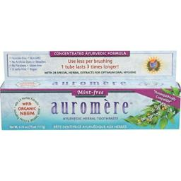 Ayurvedic Herbal Toothpaste Mint-Free by Auromere - Fluoride-Free, Natural, with Neem and Vegan - 4.16 oz