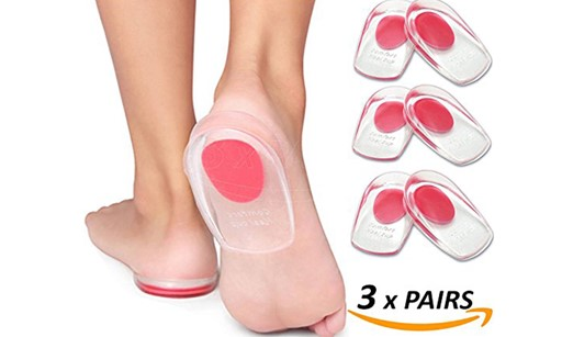 Heel Pain Inserts Silicone Gel Insole Pads Heel Cups Protectors for Plantar Fasciitis Sore Feet Bruised Heel Foot Pain Bone Spurs Treatment & .