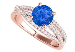 Sapphire CZ Criss Cross Design Ring in 14K Rose Gold