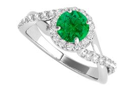 White Gold Criss Cross Design Ring with CZ and Emerald