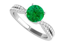 Criss Cross Design Ring with Emerald CZ in White Gold