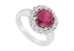 Created Ruby and Cubic Zirconia Ring 10K White Gold 3.00 Carat Total Gem Weight
