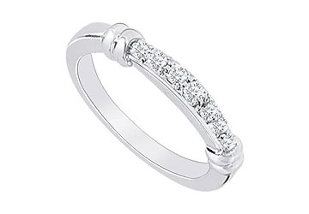 14K White Gold Diamond Wedding Band 0.15 CT TDW