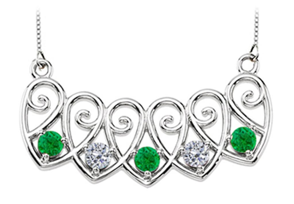14K White Gold Emeralds and Diamonds Mothers Necklace Mounting