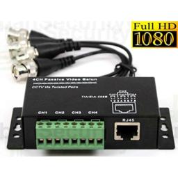 Urban Security Group 2MP 5MP 4 Channel Balun with 8 Extensions BNC Male 2 Pin Solid Screw Terminals RJ45 Interference Rejection & Transient Protection Built-in Passive Video Over UTP Cable