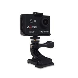 AXESS CS3608 1080P Wide Angle Lens Sports and Action Video Camera with Waterproof Housing Accessories and Built-in WiFi (Black)