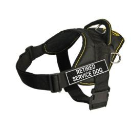 Dean & Tyler Fun Works 22-Inch to 27-Inch Pet Harness, Small, Retired Service Dog, Black with Yellow Trim