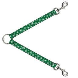 Buckle-Down Dog Leash Splitter Snowflakes Green White 1 Foot Long 1 Inch Wide
