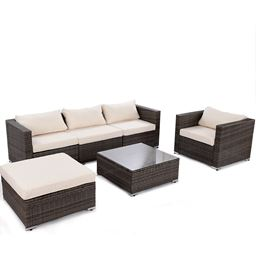 6 pcs Patio Rattan Wicker Furniture Set w/ 2 Set Cushion Cover