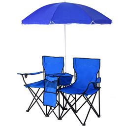Portable Folding Picnic Double Chair w/ Umbrella