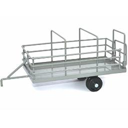 Little Buster Toys Cattle Trailer - Heavy Duty Metal Cattle Trailer in Gray, 1/16th Scale