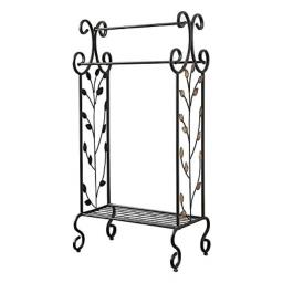 Benzara C482-MTL0020 Golden Leaves Metal Towel Rack Stand with Shelf Black