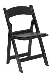 Offex 1000 lb. Capacity Black Resin Folding Chair with Black Vinyl Padded Seat