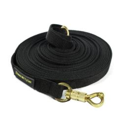 Dean & Tyler Track Single Ply Black Nylon 90-Feet by 3/4-Inch Dog Leash with a Ring on Handle and Smart Lock Snap Hook
