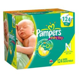 Pampers Baby Dry Size 0 Diapers Super Pack 124 Count