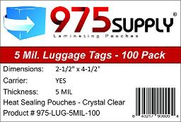 975 Supply Luggage Tag 5 Mil Laminating Pouches with Loops, 2.5 x 4.25 inches , 100 per Box