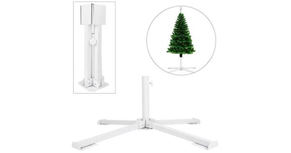 GKanMore Artificial Christmas Tree Base Stand 4-Tripods Foldable Metal Base Stand Holder for Artificial Xmas Tree White thumbnail