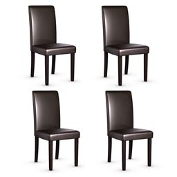 Set of 4 Urban Style PU Leather Dining Side Chairs