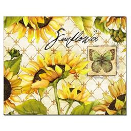 CounterArt Sunflowers in Bloom Glass Cutting Board, 15 x 12 Inches